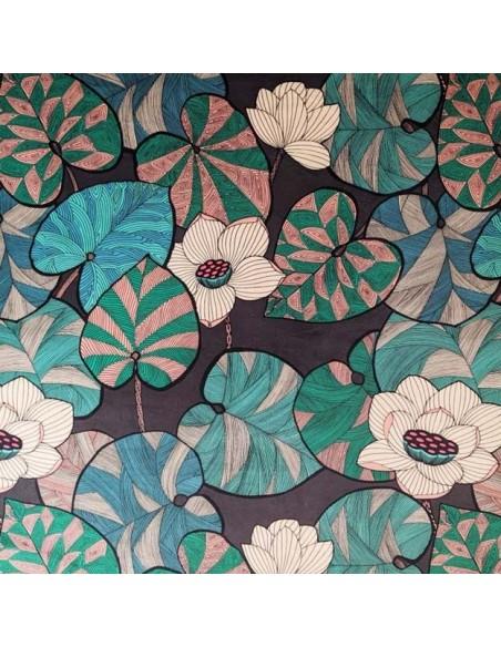 Tissu lin ameublement Collection Idris Thévenon vert et vanille fond chocolat vendu au mètre - Docks Biarritz vente en ligne