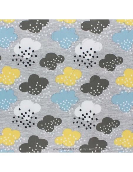 Softshell imperméable gris déperlant pluie nuages - tissu habillement - vetement couturiere - Dock Biarritz