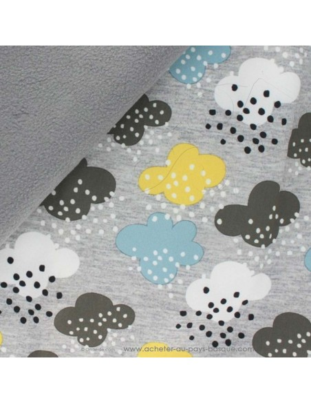zoom Softshell imperméable déperlant fond gris pluie nuages - tissu habillement - vetement couturiere - Dock Biarritz