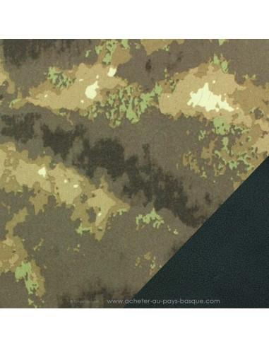 Softshell imperméable camouflage kaki marron tissu déperlant envers polaire noire- tissu habillement - Dock Biarritz