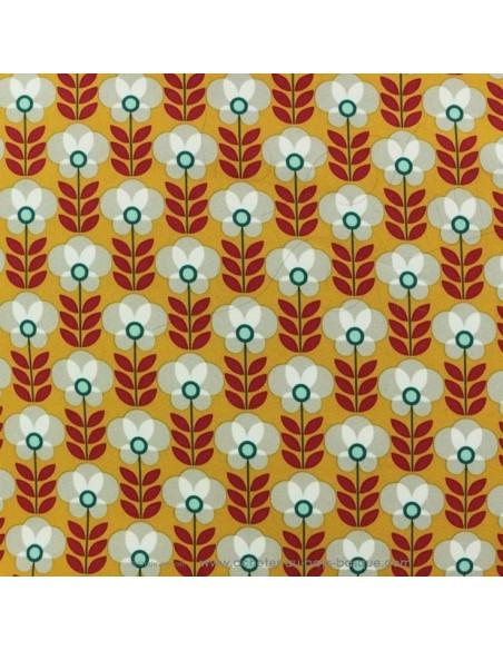 Softshell imperméable fleuri fond moutarde tissu déperlant oeko-tex envers polaire gris - tissu habillement - Dock Biarritz