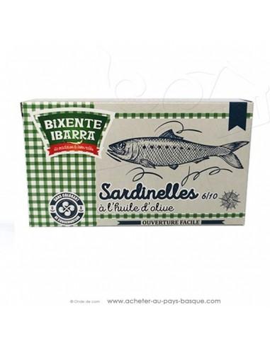 Petites Sardines : La sardinelle à l'huile d'olive - conserves Basques Tapas - aperitif espagnol - bixente ibarra