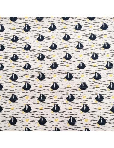 Jersey de coton Oeko-tex petit bateau encre jaune fond blanc - Tissu habillement - vetement couturiere - Dock Biarritz