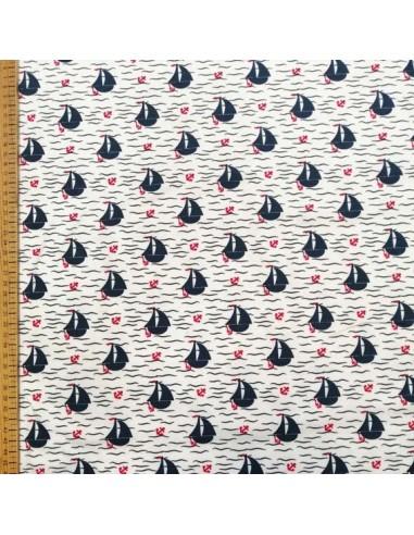 Jersey de coton Oeko-tex petit bateau encre rouge fond blanc - Tissu habillement - vetement couturiere - Dock Biarritz