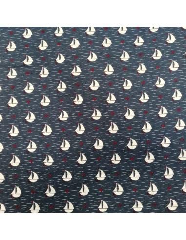 Jersey de coton Oeko-tex petit bateau encre rouge fond bleu marine - Tissu habillement - vetement couturiere - Dock Biarritz