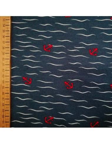 Jersey coton Oeko-tex encre rouge vague blanche fond marine - Tissu habillement - vetement couturiere - Dock Biarritz