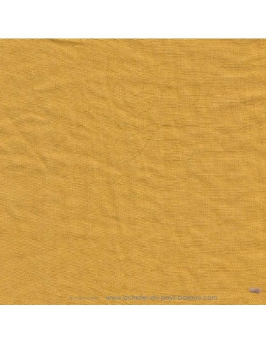 Lin français lavé 280gr/m² couleur safran - Tissus Ameublement et habillement - rideaux fauteuils canapés vêtements Biarritz