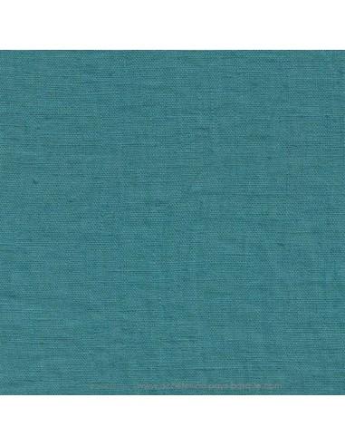 Lin français lavé 280gr/m² couleur turquoise - Tissu Ameublement et habillement - rideaux fauteuil canapé vêtement Biarritz