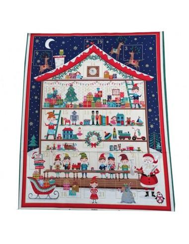Panneau Patchwork calendrier de l'avent coton imprimés Noël - Tissus patchwork Ameublement - Tissu des Docks Biarritz