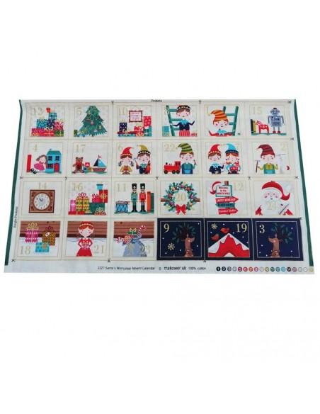 panneau vignettes calendrier de l'avent coton imprimés Noël - Tissus patchwork Ameublement - Tissu des Docks Biarritz
