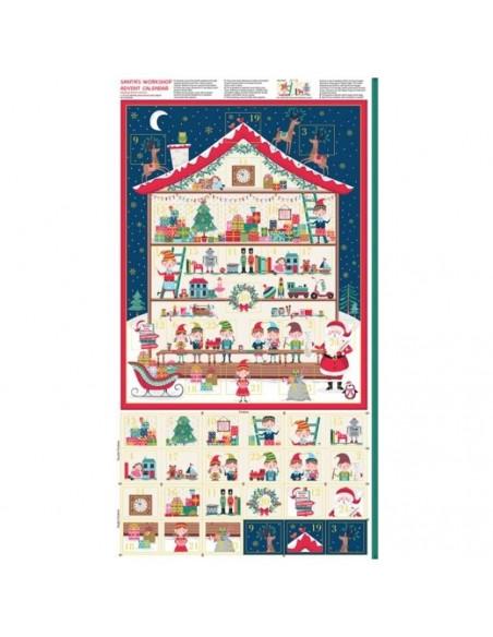Patchwork calendrier de l'avent coton imprimés Noël - Tissus patchwork Ameublement - Tissu des Docks Biarritz