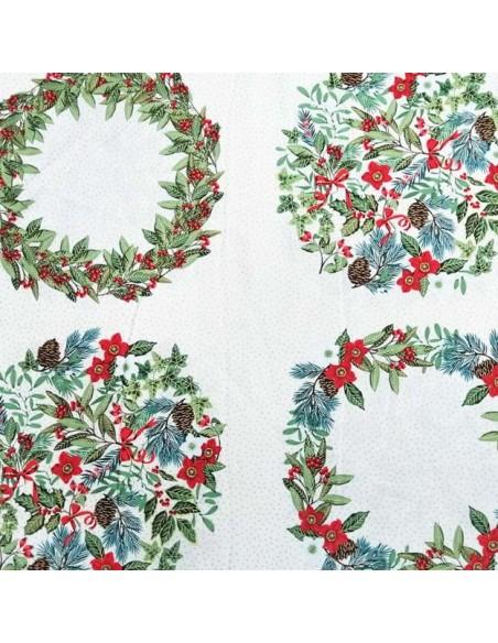 zoom Panneau Patchwork coton imprimés couronnes de Noël - coussins patchwork Ameublement -décoration de noel - Docks Biarritz