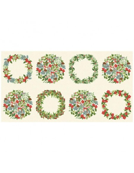 Panneau Patchwork coton imprimés couronnes de Noël - coussins patchwork Ameublement -décoration de noel - Tissu Docks Biarritz