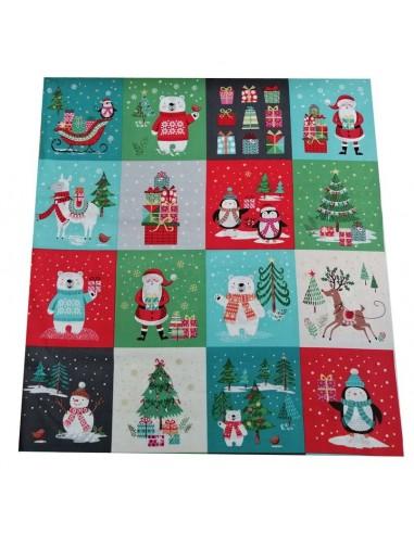 Panneau Patchwork coton imprimés Carrés de Noël 14,5cm - cartonnage patchwork - décoration de noël - Tissu Docks Biarritz