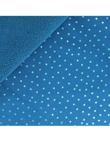 """Softshell imperméable bleu  tissu déperlant étoiles argent""""es - tissu habillement - vetement couturiere - Dock Biarritz"""