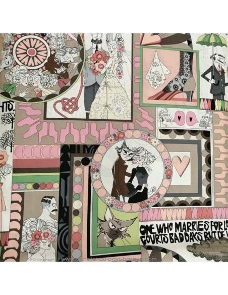 Patchwork coton popeline cadre photo amour - vêtement sac patch quilting - Tissu habillement Ameublement - Tissus Docks Biarritz