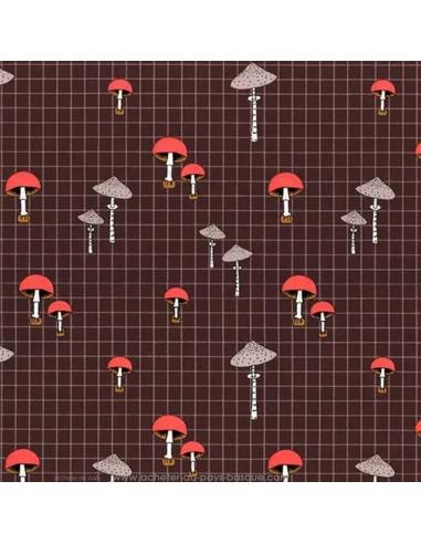 Patchwork automne coton champignon des bois fond marron - accessoire sac quilting - Tissu Ameublement - Docks Biarritz