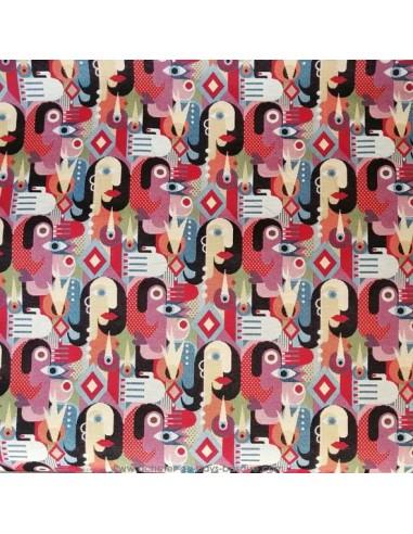 Tissu Ameublement jacquard visage cubisme peintre espagnol picasso - coussins rideaux fauteuil - Tissus  Docks Biarritz