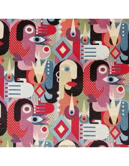 zoom Tissu Ameublement jacquard visage cubisme peintre espagnol picasso - coussins rideaux fauteuil - Tissus  Docks Biarritz
