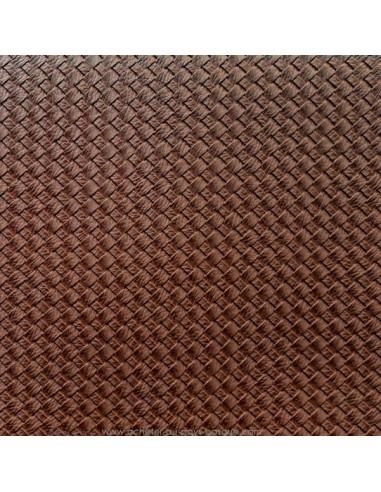 Tissus manocesto simili cuir tabac marron foncé effet tressé - Ameublement recouvrement - Tissu Docks Biarritz