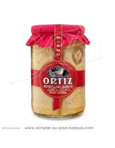 Bonite, Thon blanc germon à l'huile d'olive Ortiz en bocal 1600g, de beaux gros morceaux pour une belle présentation