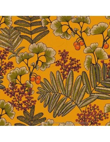tissu VICTORIA fond jaune cumin moutarde laize 280 Thevenon - Tissus Ameublement au mètre pour chaise rideaux canapé fauteuil