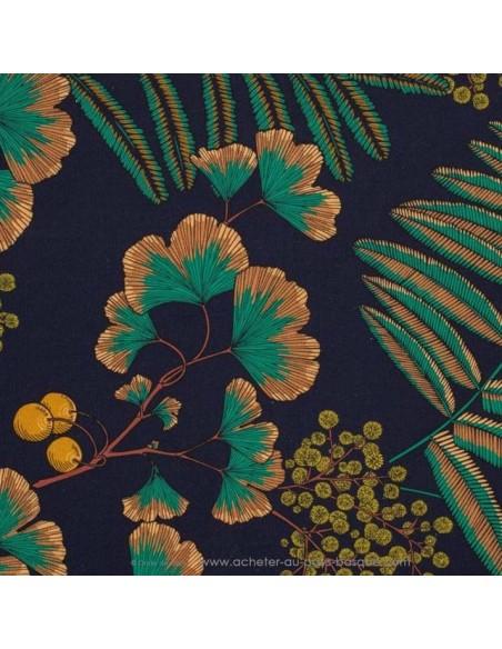 tissu coton VICTORIA feuilles vert fond marine 140cm - Thevenon 2020 - Tissus Ameublement chaise rideaux canapé fauteuil