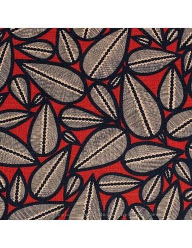 Toile lin et viscose LIMA Noire fond rouge laize 140 - Thevenon Tissus Ameublement chaise rideaux canapé fauteuil