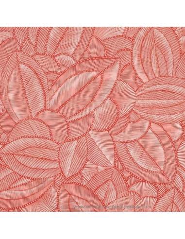 ONYX toile coton imprimé feuille rouge - Tissu Ameublement Thevenon au mètre - rideaux réfection fauteuil canapé chaise biarritz