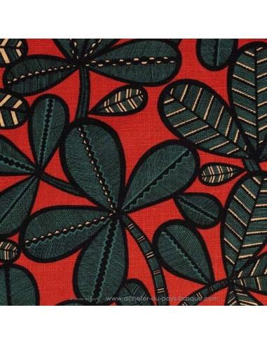 Toile lin et viscose FAO feuillage vert fond rouge laize 140 - Thevenon Tissus Ameublement chaises rideaux canapés fauteuils