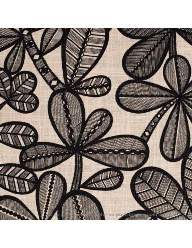 Toile lin et viscose FAO feuillage noir fond vanille laize 140 - Thevenon Tissu Ameublement chaises rideaux canapés fauteuils