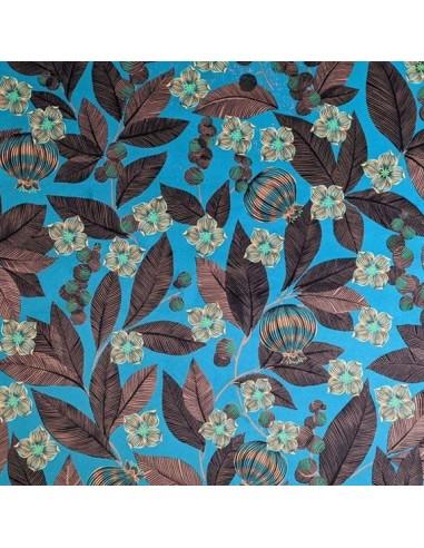 tissu velours ras FRUITS du PARADIS fond menthe bleu 140 cm - Thevenon 2020 - Tissus Ameublement chaise rideaux canapé fauteuil
