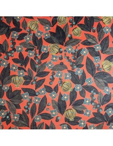 tissu velours ras FRUITS du PARADIS fond rouge 140 cm - Thevenon 2020 - Tissus Ameublement chaises rideaux canapés fauteuils