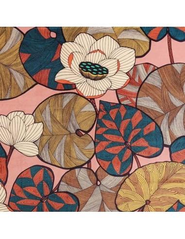 Tissu coton ameublement Idris Thévenon caramel fond vieux rose - rideaux coussin fauteuil canapé sac - Docks Biarritz