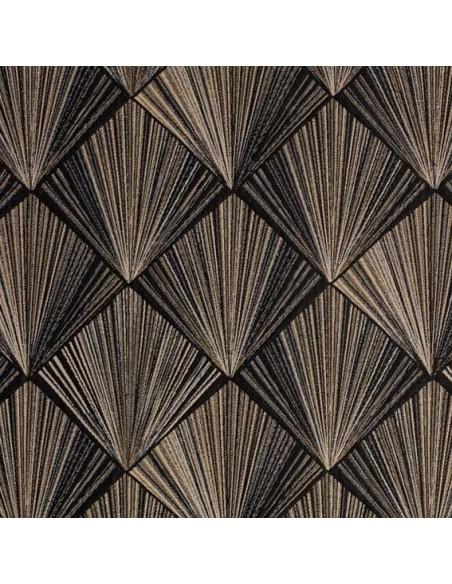 TRIANGLE D'OR jacquard noir et lin Thévenon - Tissus Ameublement - coussins rideaux réfection chaise fauteuil canapé Biarritz