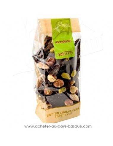 Mendiants chocolat Noir 70% origine Afrique : oranges raisins, amandes, noisettes, pistaches - Cadeau choco basque