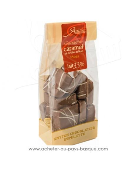 Croquez, laissez fondre en bouche, ganache chocolat Lait corsé à 34% de cacao et caramel salé au sel de salies de Béarn