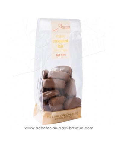 Sachet de chocolat au lait praliné en forme de coeur Croquant, Craquant, Gourmand  - Cadeau choco traditionnel basque