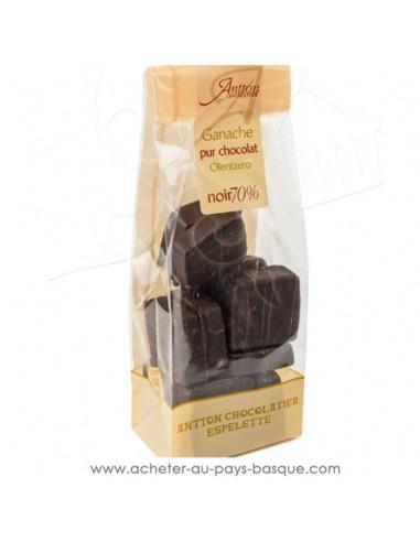 Sachet ganache chocolat noir pur beurre de cacao corsé à 70% - Cadeau choco traditionnel basque la promesse de faire plaisir