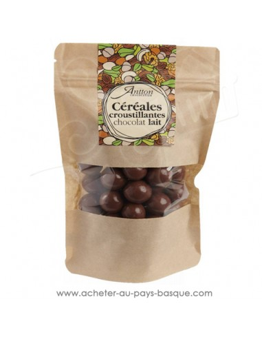 Billes de céréale enrobées de chocolat lait 34% un petit cadeau gourmand idéal au café ou thé de chocolats basques maison Antton