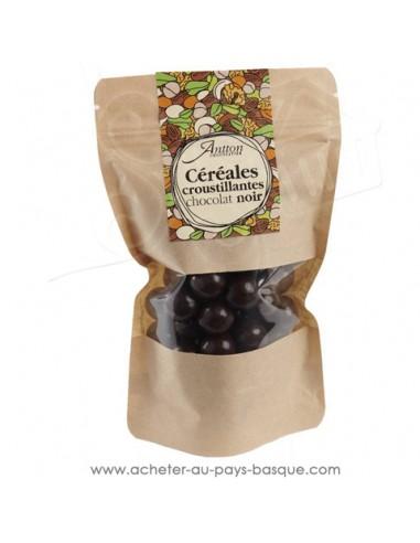 Billes de céréale enrobées de chocolat Noir 70% un petit cadeau gourmand
