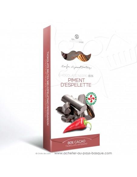 Tablette Chocolat Basque noir au piment d'Espelette noix de pécan groseille - Rafa Gorrotxategi maitre chocolatier basque