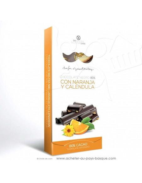 Tablette Chocolat Basque noir 80% orange fleur calendula - vente en ligne - Rafa Gorrotxategi maitre chocolatier basque