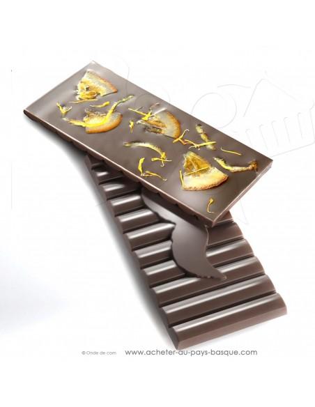 Tablette Chocolat Basque noir 80% orange et fleur de calendula - Rafa Gorrotxategi maitre chocolatier basque