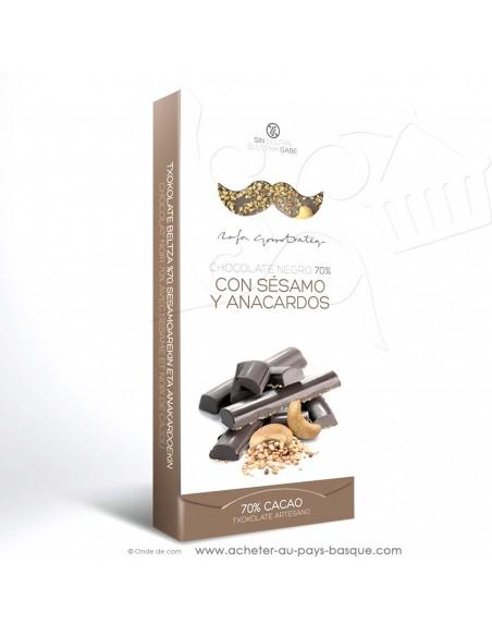 Tablette Chocolat Basque noir noix cajou sésame - epicerie sucrée en ligne - Rafa Gorrotxategi maitre chocolatier basque