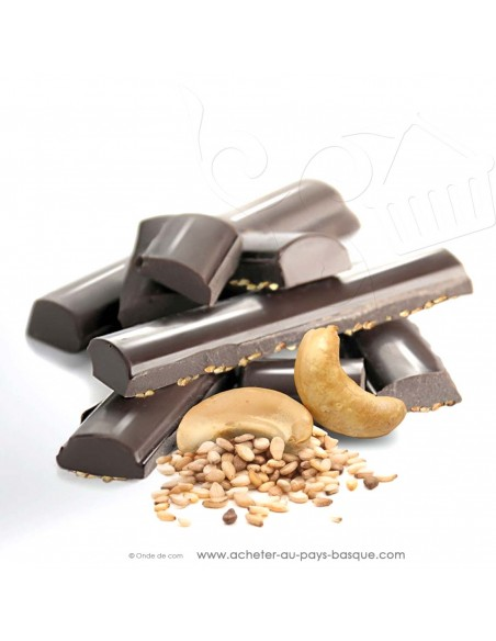 zoom Tablette Chocolat Basque noir noix de cajou et graines de sésame - Rafa Gorrotxategi maitre chocolatier basque