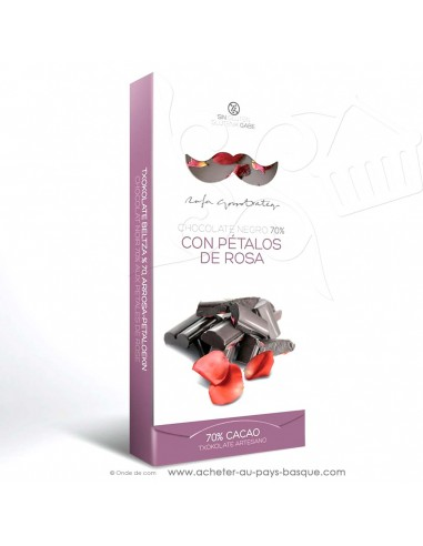 Tablette Chocolat Basque noir et pétales de rose - epicerie sucrée en ligne - Rafa Gorrotxategi maitre chocolatier basque