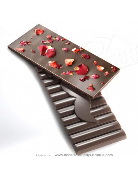 Tablette Chocolat Basque noir pétales de rose - vente en ligne epicerie sucrée - Rafa Gorrotxategi maitre chocolatier basque