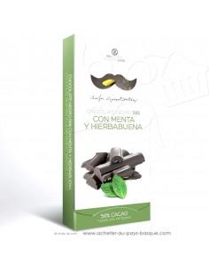 Tablette Chocolat Basque noir menthes : menthe poivrée et menthe verte - Rafa Gorrotxategi maitre chocolatier basque