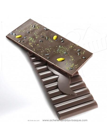 Tablette Chocolat Basque noir  menthe poivrée menthe verte - epicerie sucrée en ligne - Rafa Gorrotxategi chocolatier basque